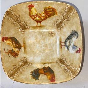 Set Of 4 Rustic Rooster Fine China .